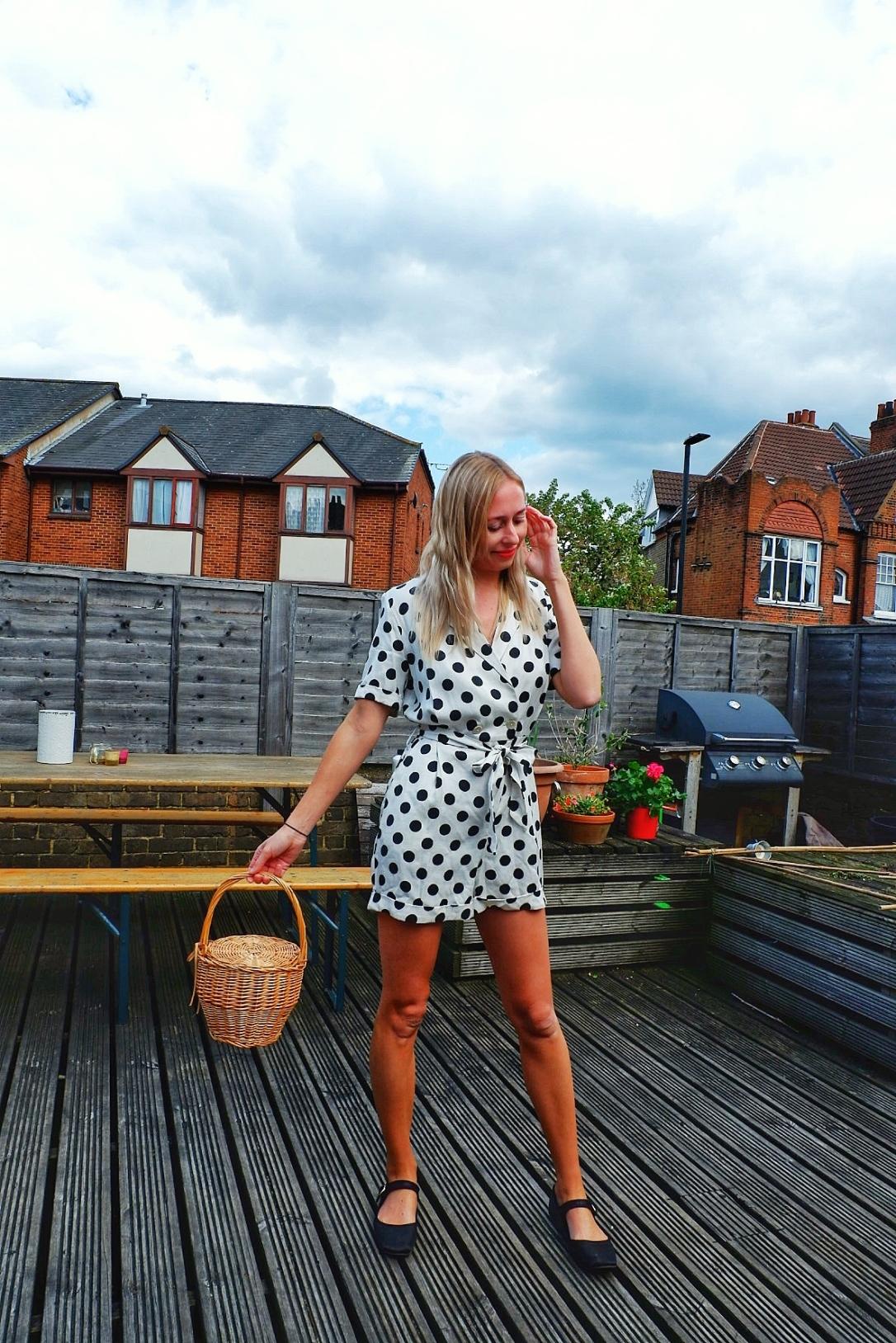 Topshop polka dot playsuit fashionista fashionblogger styleblogger