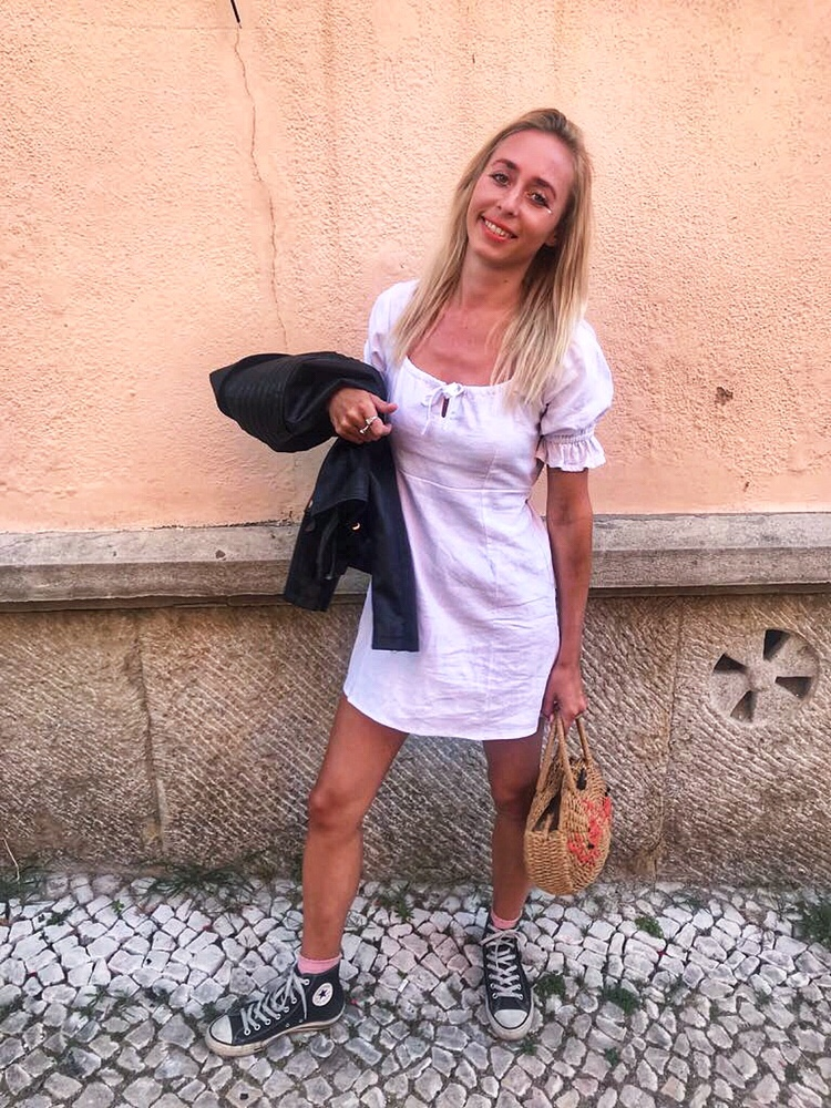 White with jean linen dress
