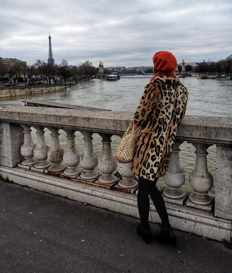 Leopard print coat Paris Eiffel tower