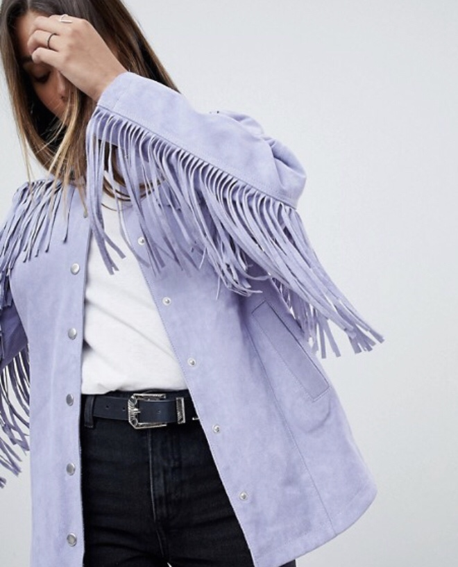 Suede jacket with fringe