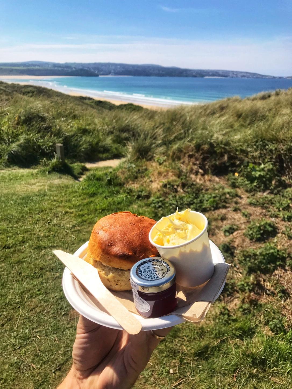 Scone jam Cornish clotted cream