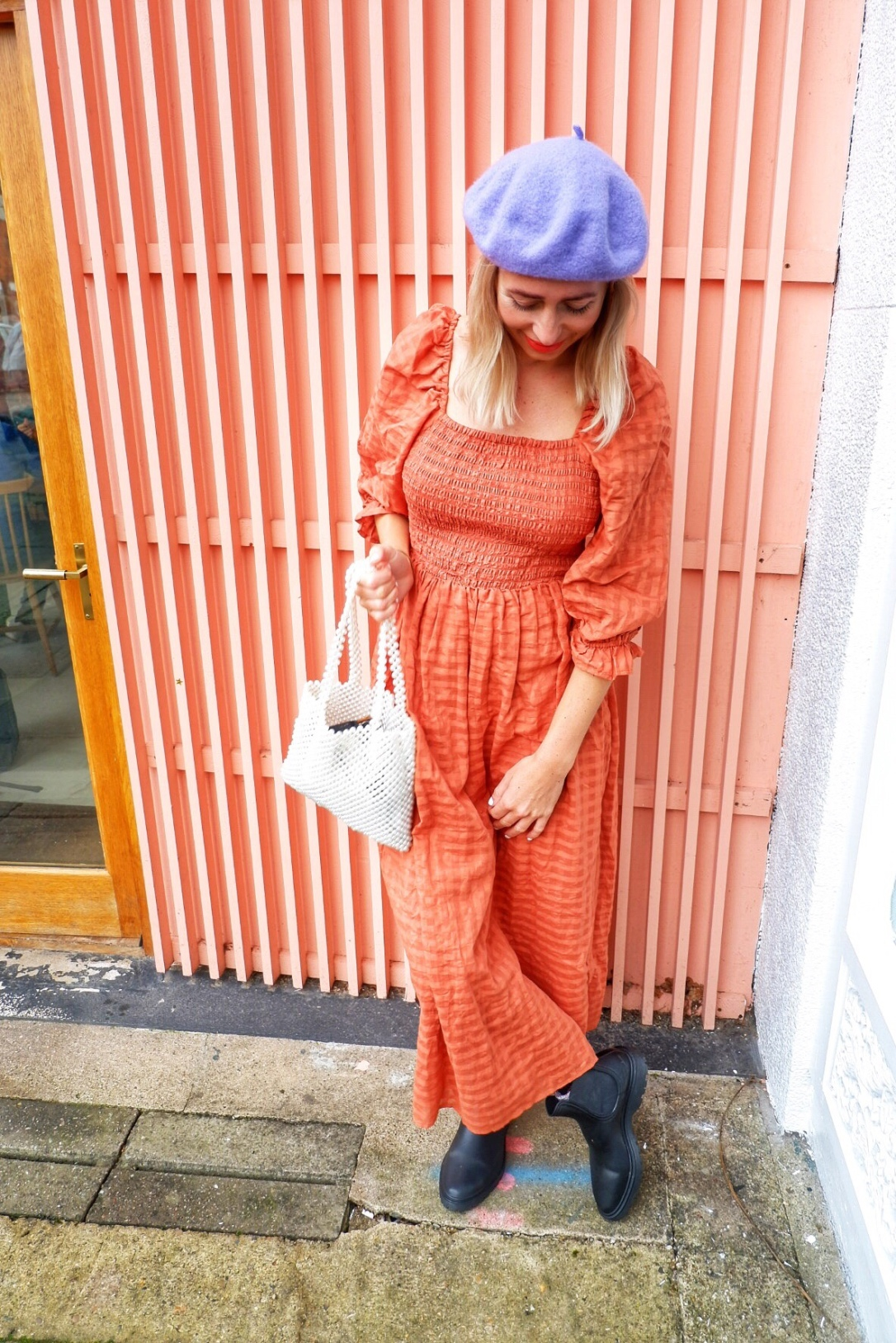 ASOS orange prairie dress first pregnancy